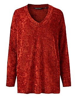 Rust V Neck Chenille Jumper