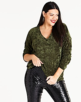 Green V Neck Chenille Jumper