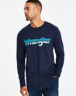 Wrangler LS Navy Logo T-Shirt