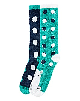 Pack of 2 Green Fluffy Bed Socks