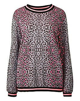 Jacquard Animal Neon Sweatshirt