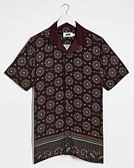 Paisley Viscose Short Sleeve Shirt Long
