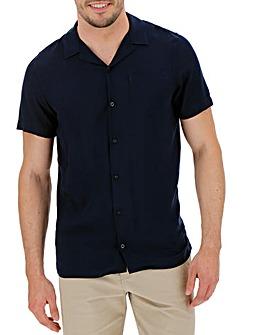 Navy Viscose S/S Shirt L