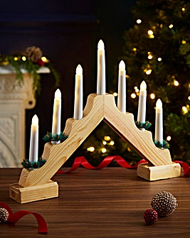 Wooden 7 Candle Bridge Battery Operated