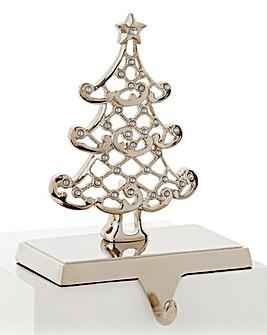 Silver Crystal Tree Stocking Holder