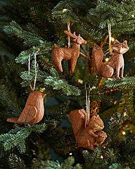 Set of 4 Woodland Tree Decorations