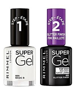 Rimmel Super Gel Nail Polish Duo - Basic B & Glitter Top Coat