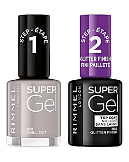 Rimmel Super Gel Nail Polish Duo - Chill Out & Glitter Top Coat