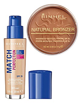 Rimmel Match Perfection Ivory Foundation and Sunglow Bronzer Set
