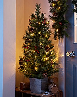 Christmas Pine Porch Tree Battery Lights