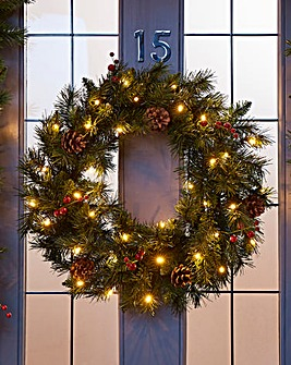 Christmas Pine Wreath Battery Lights