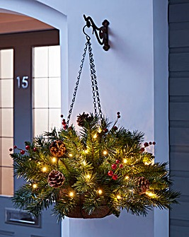 Christmas Pine Lit Hanging Basket