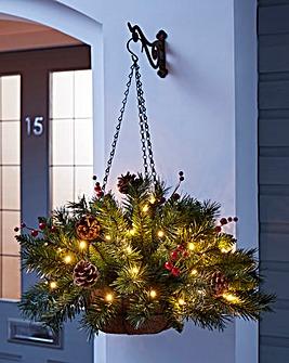 Christmas Pine Lit Hanging Basket