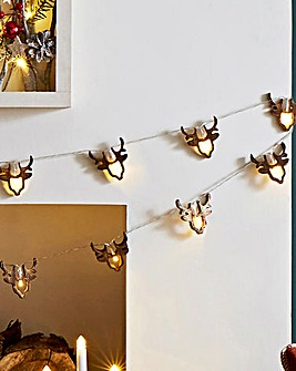 Wooden Stag 20 Battery String Lights