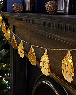 Gold Leaves 10 Battery String Lights