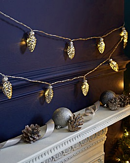 Glass Pinecones 20 Battery String Lights