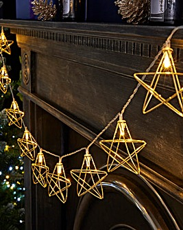 Gold Stars 10 Battery String Lights