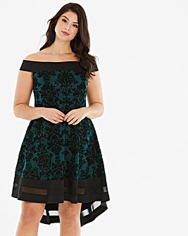 Quiz Curve Floral Flock Fit & Flare