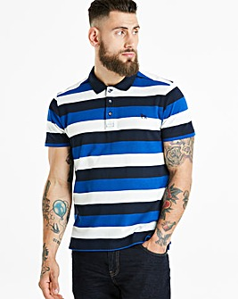 Bewley & Ritch White/Blue Fear Block Stripe Polo Regular