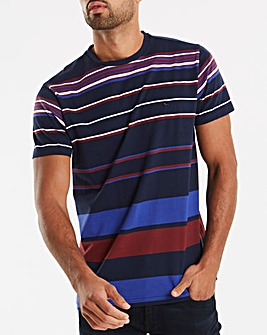 Bewley & Ritch Navy/Burgundy Hill Stripe T-Shirt Regular