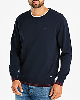 Bewley & Ritch Navy Crew Neck Tipped Jumper Regular