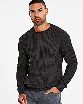 Bewley & Ritch Charcoal Island Cable Knit Jumper Regular