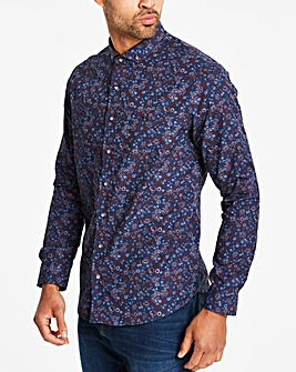 Bewley & Ritch Navy Fiasco Floral Long Sleeve Shirt Regular