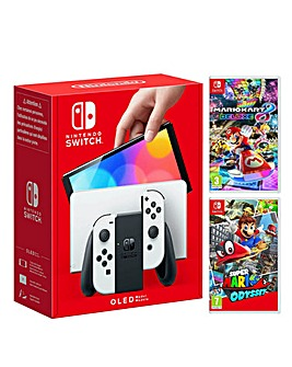 Nintendo Switch OLED White + Mario Kart 8 + Super Mario Odyssey