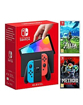 Nintendo Switch OLED Neon + Zelda + Metroid Dread