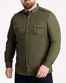 Jacamo Long Sleeve Khaki Military Shirt