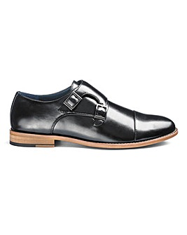 Jacamo Leather Look Monk Shoes Wide Fit