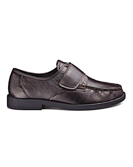 Cushion Walk Leather Look Easy Fasten Shoes Standard Fit