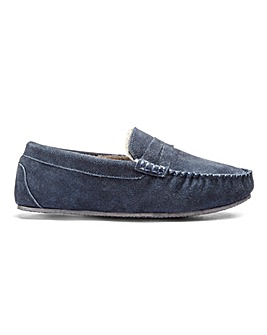 Suede Saddle Loafer Slipper Standard Fit
