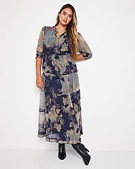 Jo Print Tie Neck Maxi Dress