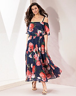 Joanna Hope Valencia Peony Flounce Dress