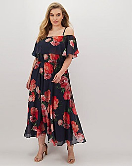 Joanna Hope Bardot Chiffon Floral Frill Maxi Dress