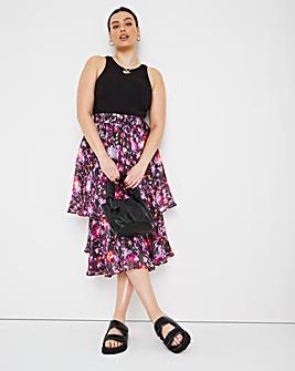 Joanna Hope Tiered Printed Skirt