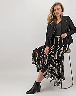 Joanna Hope Print Fluted Hem Skirt