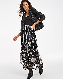 Joanna Hope Zebra Print Frill Hem Skirt