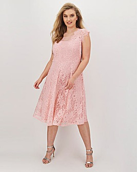 Joanna Hope Lace Midi Skater Dress