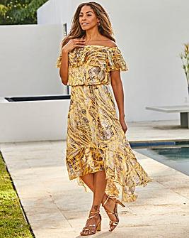 Jo Hope Frill Printed Bardot Dress