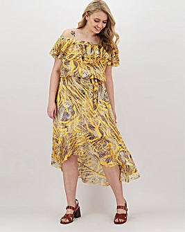 Joanna Hope Frill Printed Bardot Dress