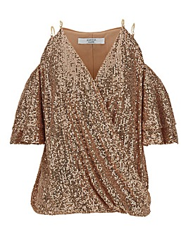 Joanna Hope Sequin Cold Shoulder Top
