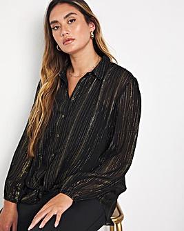Jo Tie Front Lurex Shirt