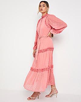 Jo Ruffle Dobby Maxi Dress