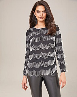 Joanna Hope Fringe Beaded Top
