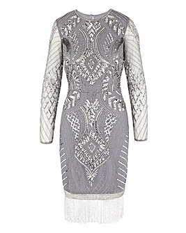Joanna Hope Beaded Fringe Midi Dress