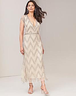 Joanna Hope Beaded Fringe Maxi Dress