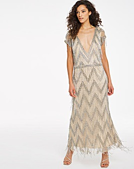 Joanna Hope Beaded Fringe Maxi Dress