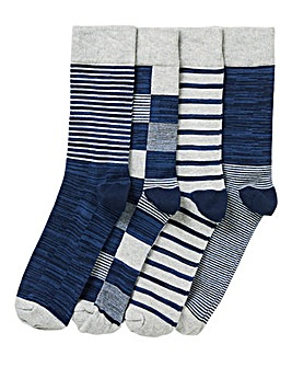 Pack of 4 Multi Print Socks